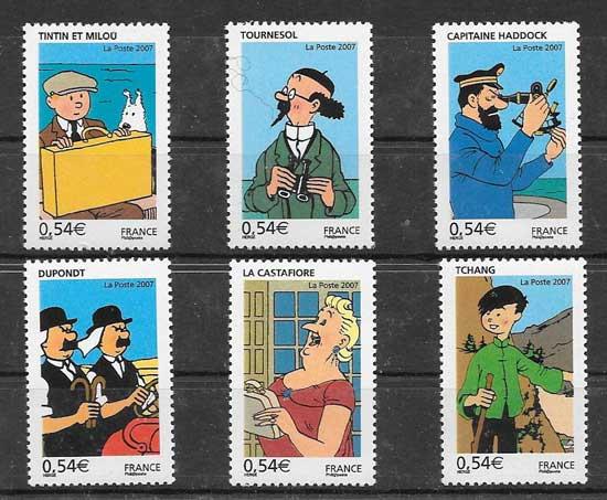 Sello Cómic Tintin Francia 2007
