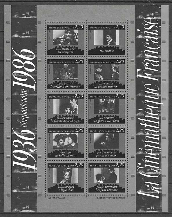sellos Francia 1986 cine