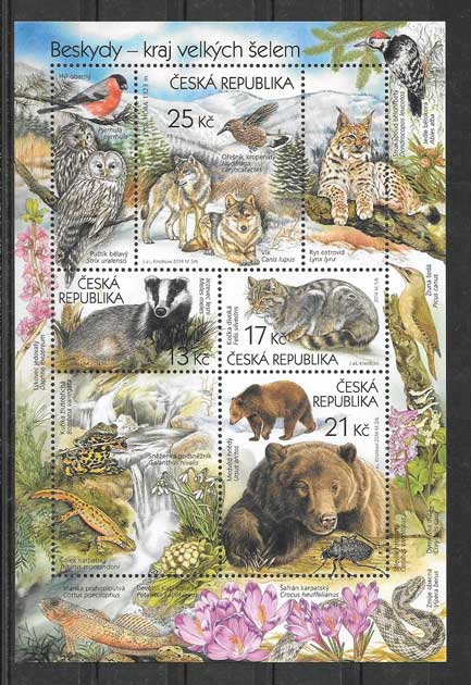 Filatelia sellos hojita de mamíferos salvajes de Chequia