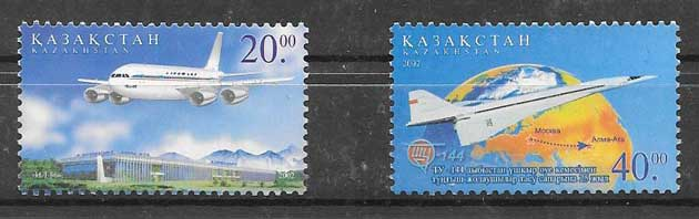 Filatelia aviones Kazakstán 2002