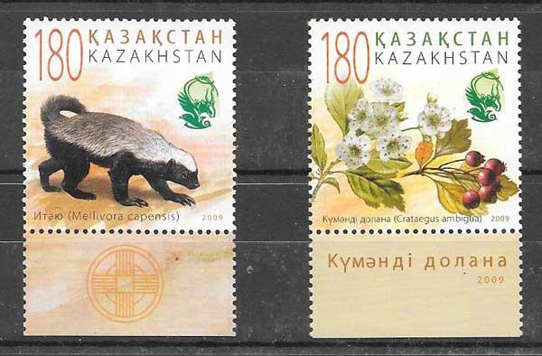 Estampillas fauna y flora Kazakstán 2009