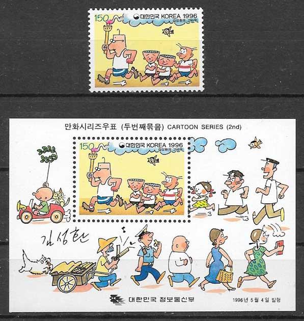sellos cómic Corea del Sur 1996