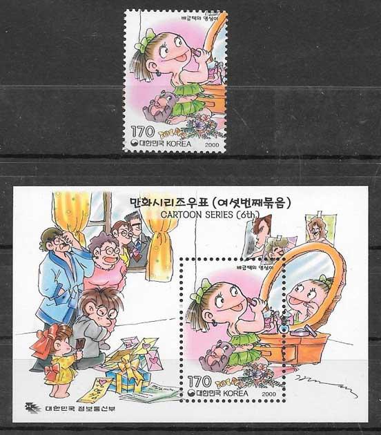 colección sellos cómic Corea del Sur 2000