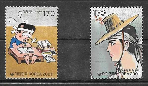 sellos cómic Corea del Sur 2001
