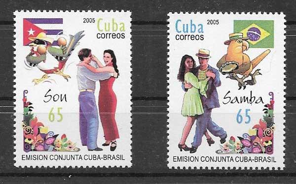 Sellos arte cubano y brasileño 2005