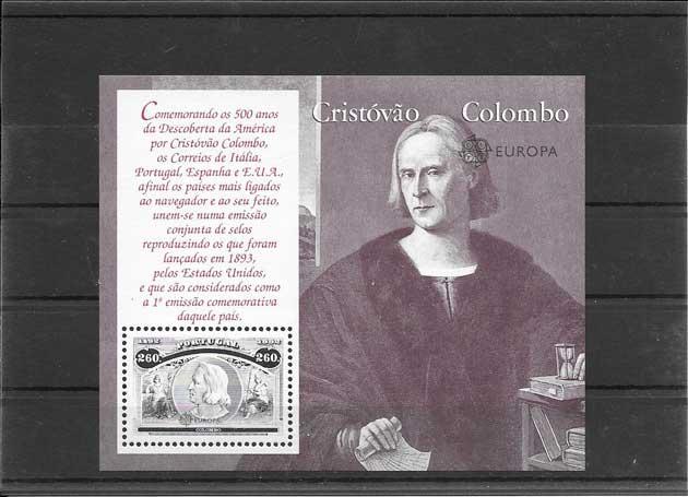 Filatelia sellos Tema Europa Portugal año 1992, 6 Hojitas Descubrimiento de América