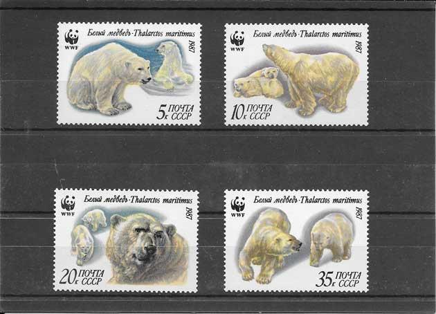 Filatelia sellos serie protegida oso polar
