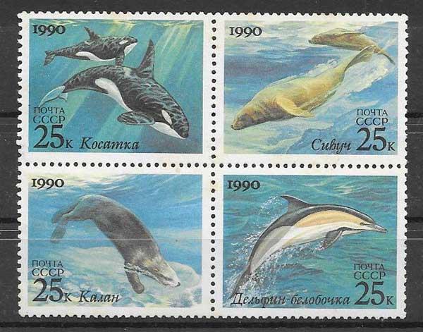 Filatelia sellos fauna marina Rusia 1990