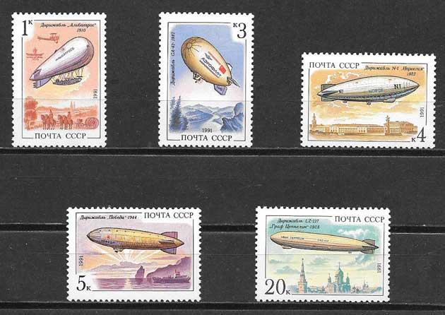 sellos aeronáutica Rusia 1991