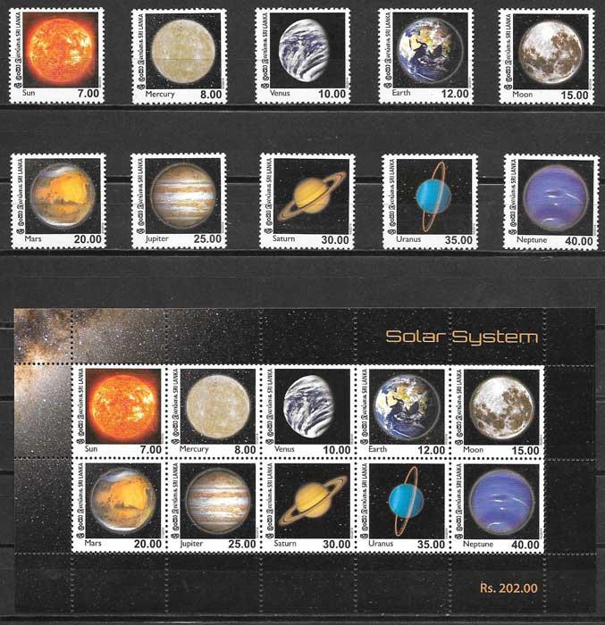 colección sellos espacio Sri Lanka