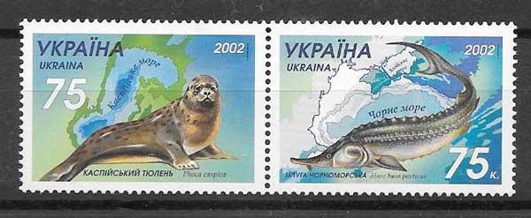 Sellos filatelia protección de la fauna Ucrania