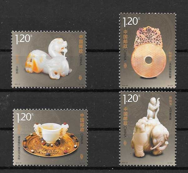 Jade objects Stamps philately