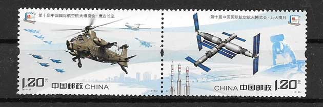 Stamp Collection China Air and space transport 2014