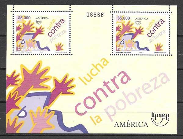 Hojita de 2 sellos UPAEP Colombia 2005
