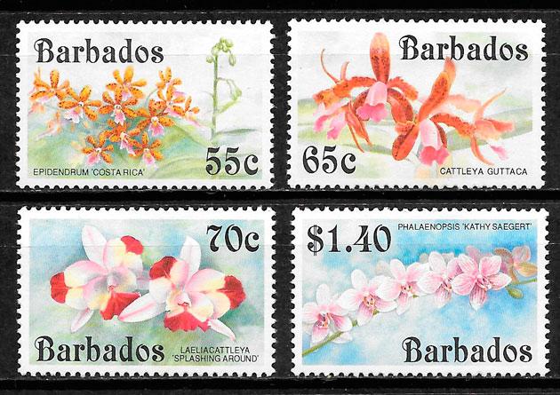 filatelia colección flora Barbados 1992