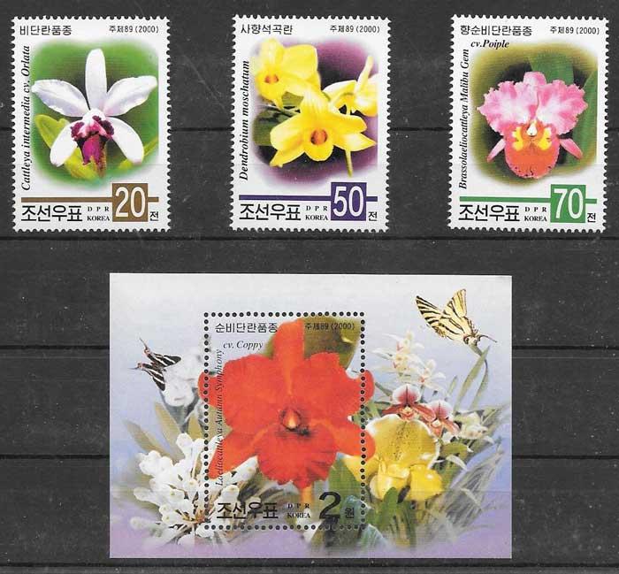 Filatelia orquídeas Corea del Norte 2000