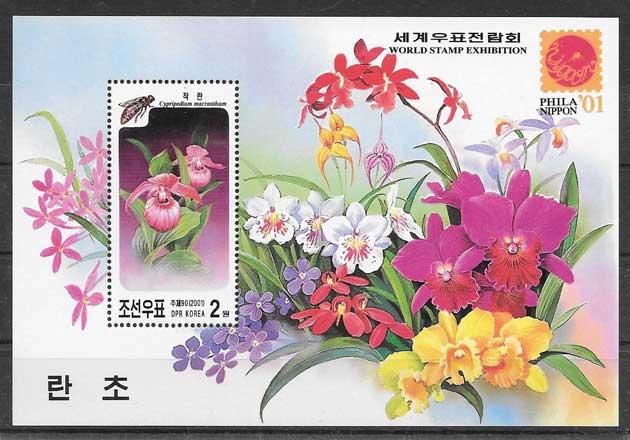 sellos Corea del Norte Orquídeas 2001