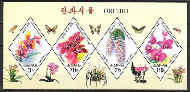 Colección sellos flora Corea 2007