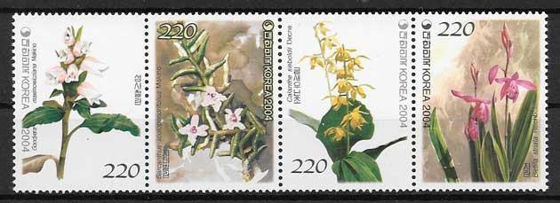 colección sellos flora Corea del sur 2004