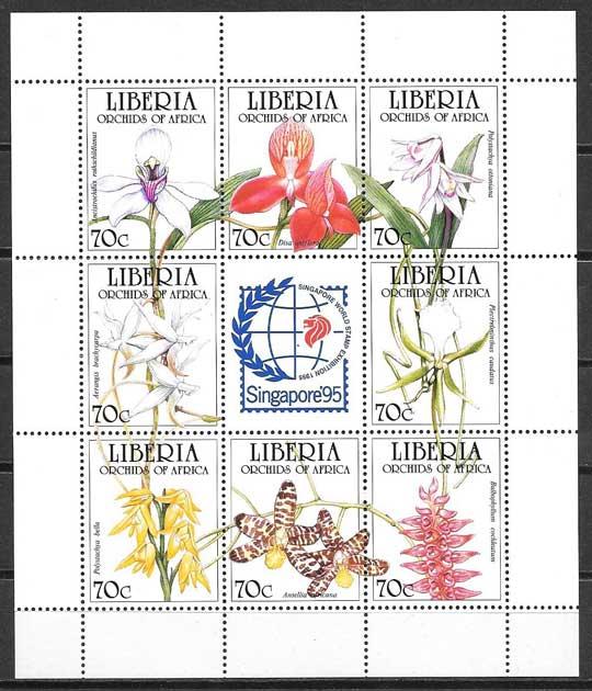 sellos flora Liberia 1995