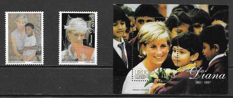 Filatelia princesa Diana Uruguay 1998