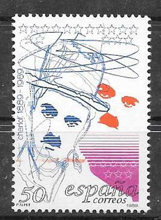 1989 stamps Spain personality Charlie Chaplin